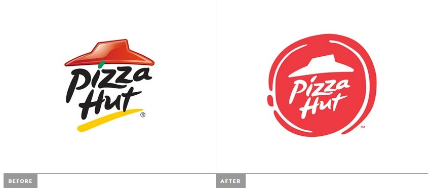 Pizza Hut logo, old & new